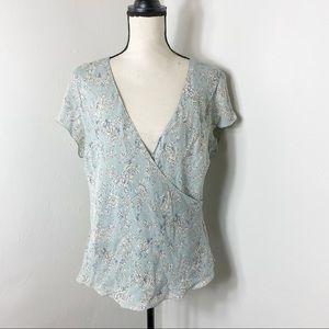 NWT Merona Silk Blue Faux Wrap Blouse Top Y2K XL